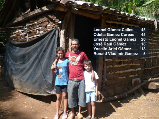 The Calles family in front of their old plastic and mud home. What a difference, no wonder he was weeping when he received his new home.